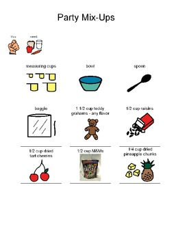 Visual Recipe for making Party Mix-Ups for students with autism