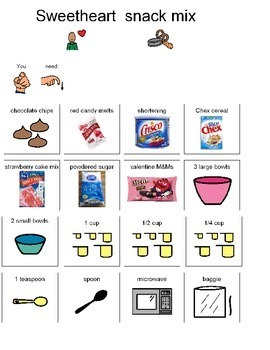 Visual Recipe for sweetheart Chex snack mix