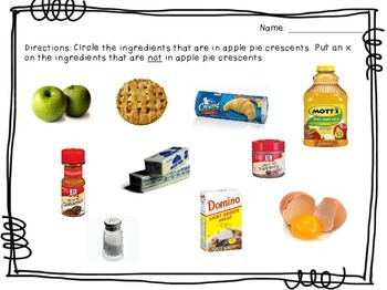 Visual Recipe for the Special Ed Classroom - Apple Pie Crescents