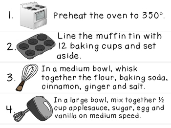 Visual Recipe for the Special Ed Classroom - Carrot Applesauce Muffins