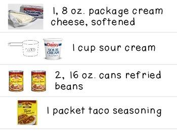 Visual Recipe for the Special Ed Classroom - Cheesy Bean Dip