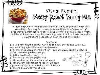 Visual Recipe for the Special Ed Classroom - Cheesy Ranch Party Mix