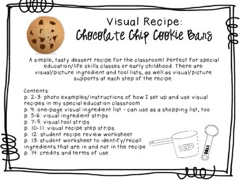 Visual Recipe for the Special Ed Classroom - Chocolate Chip Cookie Bars