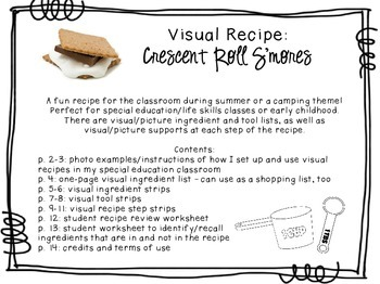 Visual Recipe for the Special Ed Classroom - Crescent Roll S'mores