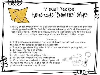 """Visual Recipe for the Special Ed Classroom - Homemade """"Doritos"""" Chips"""
