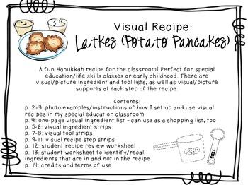 visual recipe for the special ed classroom latkes