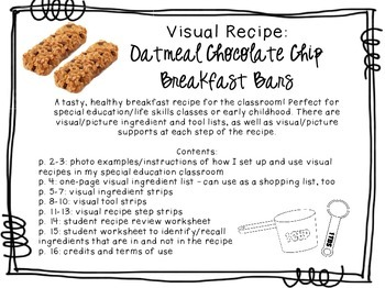 Visual Recipe for the Special Ed Classroom - Oatmeal Choc. Chip Breakfast Bars