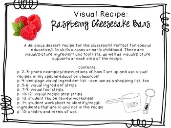 Visual Recipe for the Special Ed Classroom - Raspberry Cheesecake Bars