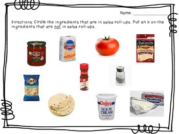 Visual Recipe for the Special Ed Classroom - Salsa Roll-Ups