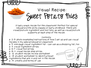 Visual Recipe for the Special Ed Classroom - Sweet Potato Fries