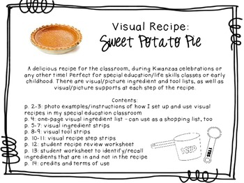 Visual Recipe for the Special Ed Classroom - Sweet Potato Pie