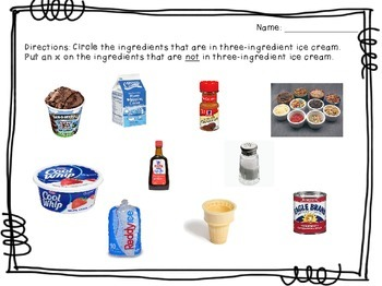 Visual Recipe for the Special Ed Classroom - Three-Ingredient Ice Cream