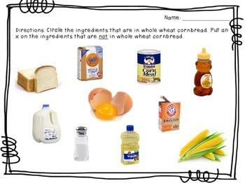 Visual Recipe for the Special Ed Classroom - Whole Wheat Cornbread