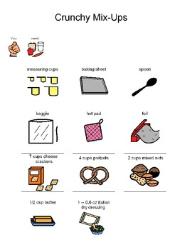 Visual Recipe to Make Crunchy Mix-Ups for students with autism