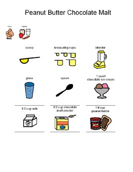 Visual Recipe to Make Peanut Butter Chocolate Malts for students with autism