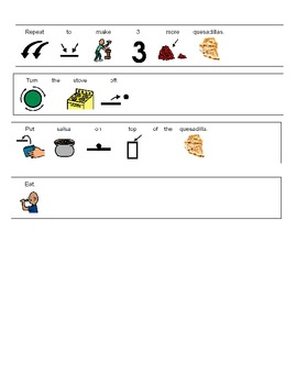 Visual Recipe to make Bean and Cheese Quesadillas for students with autism