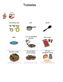 Visual Recipe to make Tostadas for students with autism