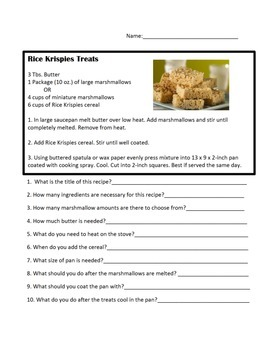 Rice Krispies Treats Recipe and Questions.