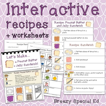Visual Recipes for Peanut Butter and Jelly Sandwich and more! Special Education