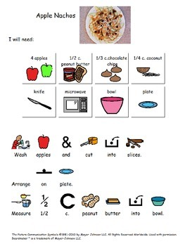 Visual Recipes for Students with Special Needs