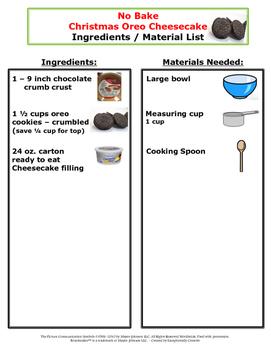 Visual Recipes for the Autism Classroom - No Bake Christmas Oreo Cheesecake