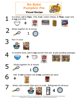 Visual Recipes for the Autism Classroom - No Bake Pumpkin Pie