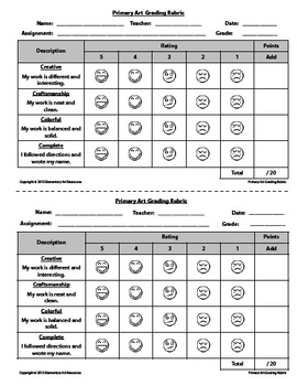 Visual Rubric : Primary Art Visual Self Grading Elementary Art Project
