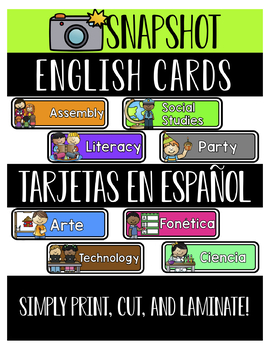 Visual Schedule Cards- Bilingual English & Spanish