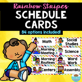 Visual Schedule Cards Rainbow Stripes