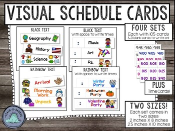 Visual Schedule Cards | Two Sizes | Rainbow Text and All-Black Text