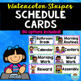 Visual Schedule Cards Watercolor Stripes
