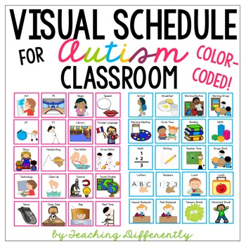 Visual schedule for autism and special education color for Special education schedule template