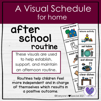 Visual Schedule for Home- After School Routine