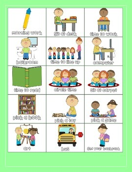 Visual Schedule for Students with Special Needs GREEN(PECS, Visuals, Schedule)