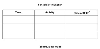 Visual Schedule for older students