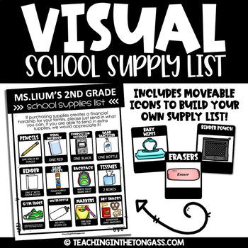 Visual School Supply List Editable
