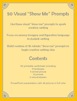 "Visual ""Show Me"" Prompts for Creative Writing - Worksheets"