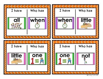 Visual Sight Word - I Have Who Has