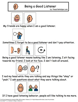 Visual Social Story Packet for Children with Autism: Communication Set 1