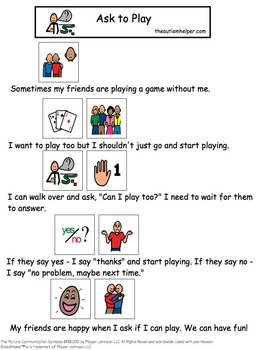 Visual Social Story Packet for Children with Autism: Communication Set 2
