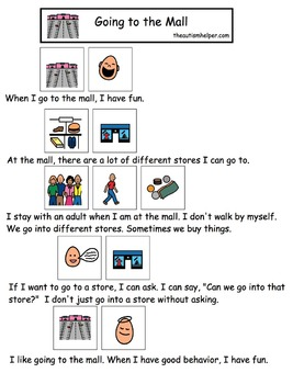 Visual Social Story Packet for Children with Autism: Community Set 2