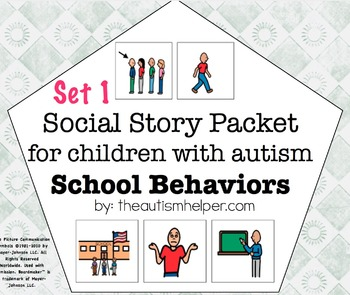 Visual Social Story Packet for Children with Autism: School Behaviors Set 1