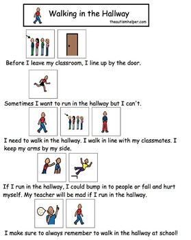 Visual Social Story Packet for Children with Autism: School Behaviors Set 2
