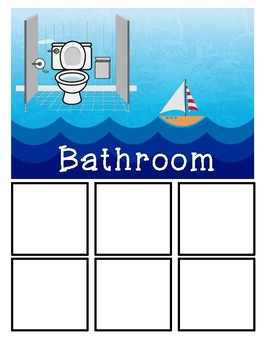 Visual Structure Icons - Ocean Themed - Bathroom