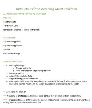 Visual Support Desk Mat: Pokemon