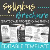 Visual Syllabus Brochure - Editable Template (Grayscale)