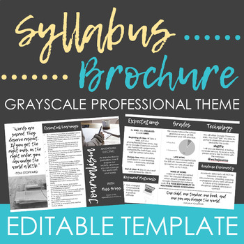 Visual Syllabus Brochure - Editable Template (Grayscale) | TpT