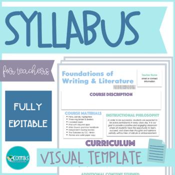 Visual Syllabus - EDITABLE (+ 3 free fonts!)