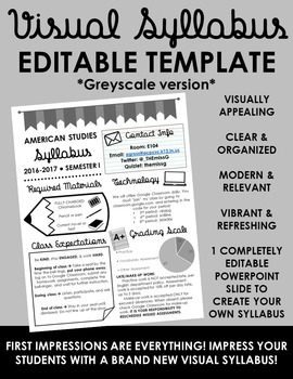 Visual Syllabus Editable Template -- Create your own -- GREYSCALE VERSION