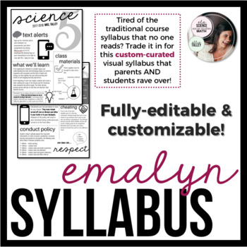 Editable Visual Syllabus Template Design 1 | Great for Back to School!